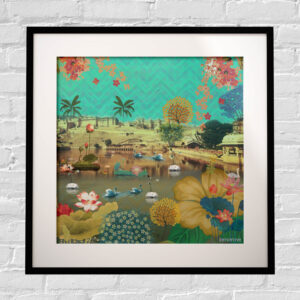 Beautiful Lakeside Framed Indian Wall Art Print