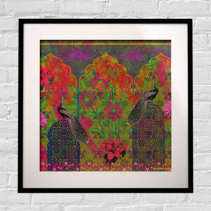 Peacock in Castle Framed Indian Wall Art Print