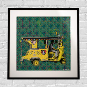Yellow Auto Rickshaw Framed Indian Wall Art Print