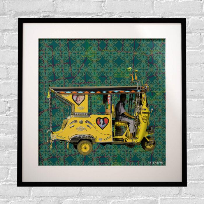 Yellow Auto Rickshaw Framed Indian Wall Art Print