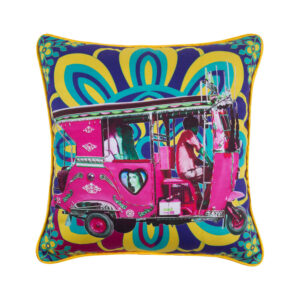 Gulabi Auto Rickshaw Glaze Cotton Cushion Cover
