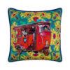 Lal Auto Rickshaw Glaze Cotton Cushion Cover 16x16 Inches