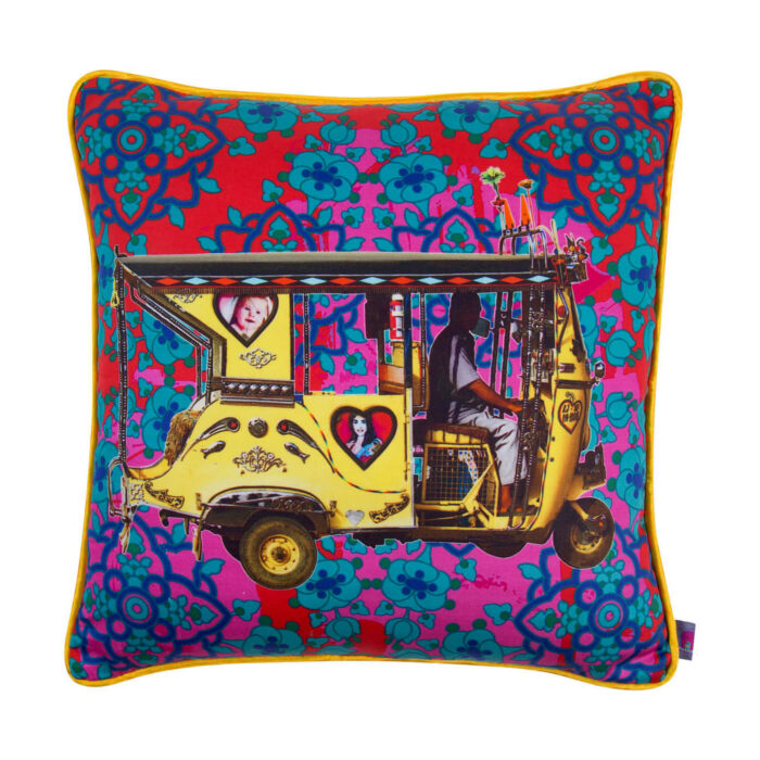 Golden Taxi Glaze Cotton Cushion Cover 16x16 Inches
