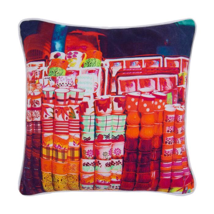 Tea Cups Glaze Cotton Cushion Cover