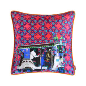 Silver Auto Rickshaw Glaze Cotton Cushion Cover 16x16 Inches