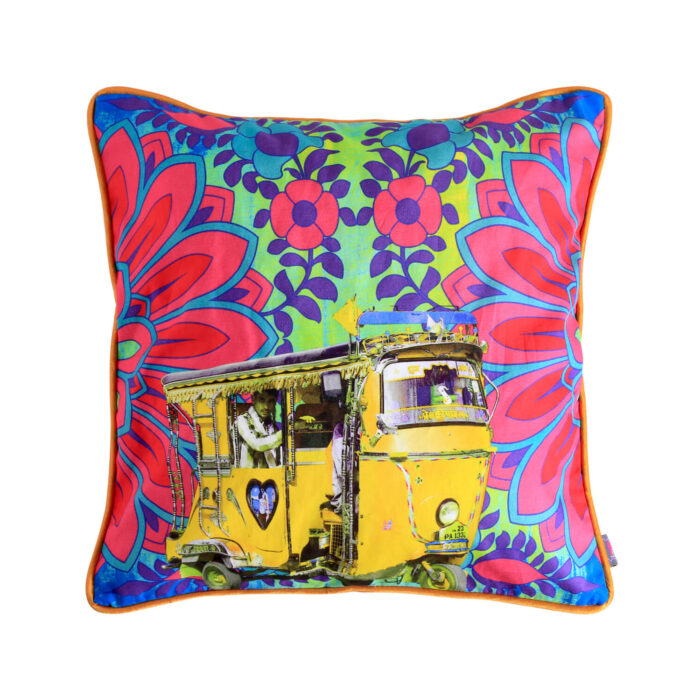 Neon Yellow Taxi Glaze Cotton Cushion Cover 16x16 Inches