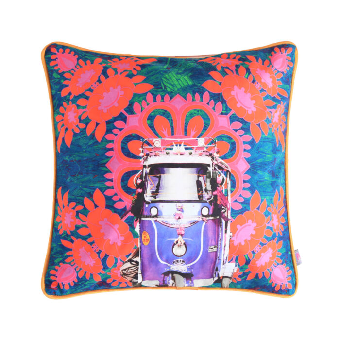 Purple Taxi Glaze Cotton Cushion Cover 16x16 Inches