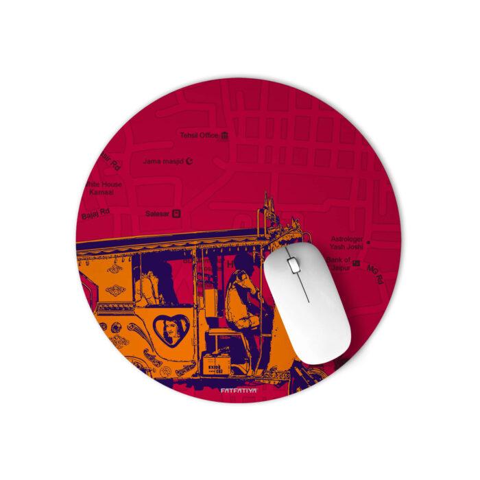 Orange Auto Round Mouse Pad