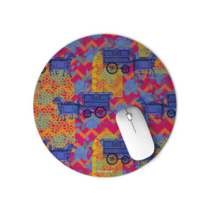 Horse Cart Design Round Mouse Pad