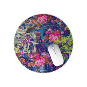 Two Indian Wedding Elephant Round Mouse Pad