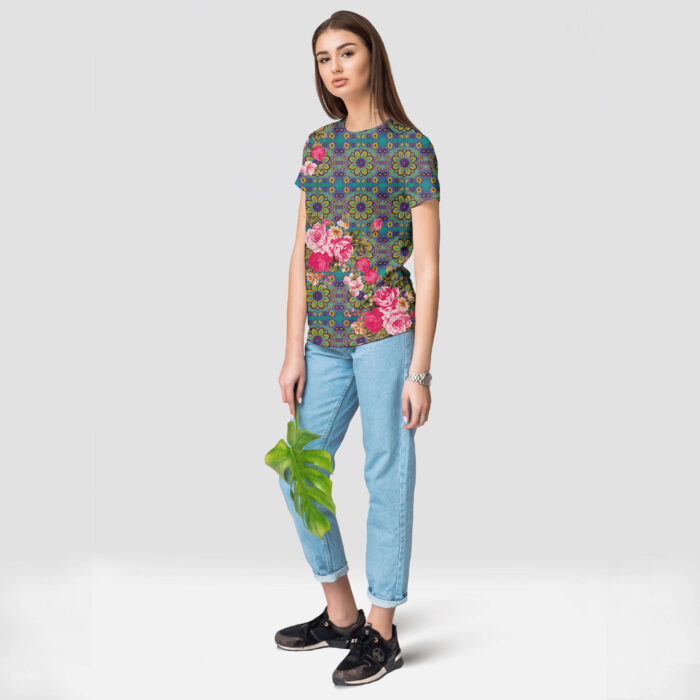 Cool Blue and Pink Flowery Round Neck Half Sleeve Top
