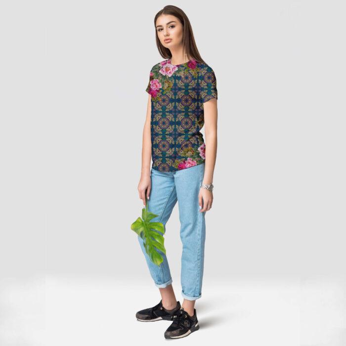 Geometric Design Floral Round Neck T-Shirt