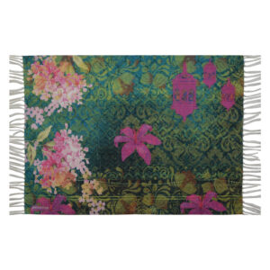 Pink Green Flower Re-Cycled Polyester Rug