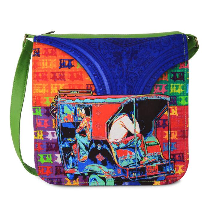 Hip Auto Rickshaw Canvas PU Sling/Crossbody Bag