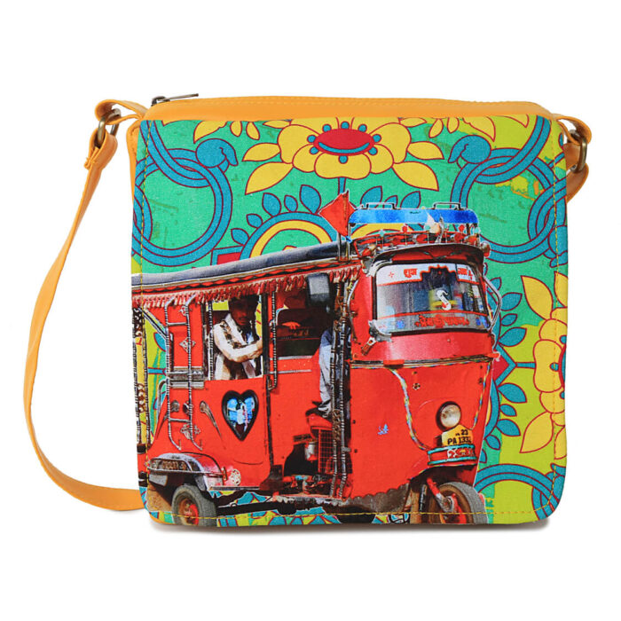 Red Auto Rickshaw Canvas PU Sling/Crossbody Bag