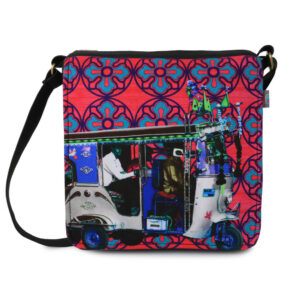 Blue Silver Taxi Canvas PU Sling/Crossbody Bag