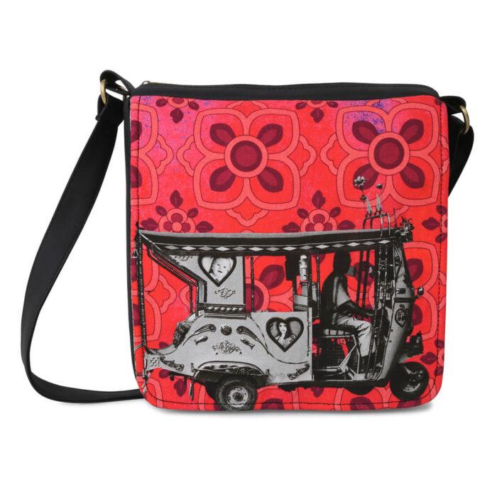 Silver Auto Rickshaw Canvas PU Sling/Crossbody Bag