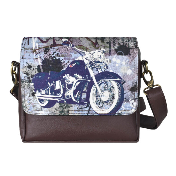 Blue Bike Canvas PU Sling/Crossbody Bag