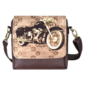 Brown Bike Canvas PU Sling/Crossbody Bag