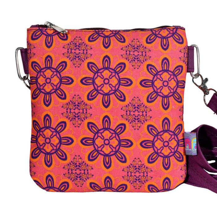 Delicate Flower Canvas PU Sling Bag