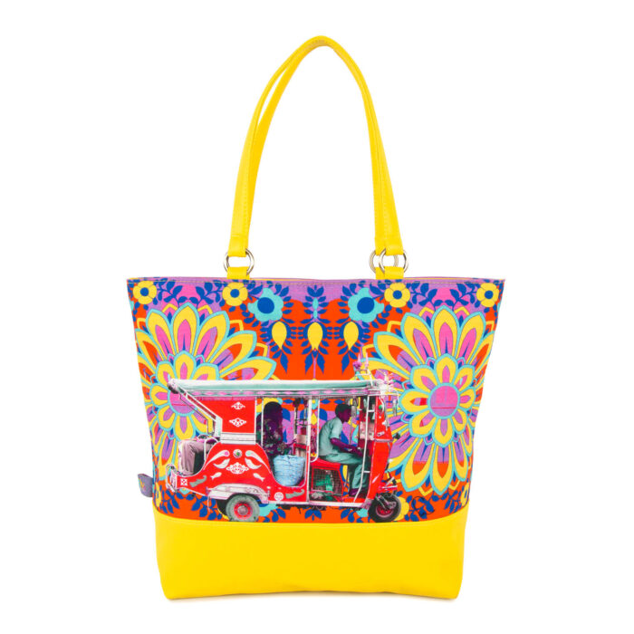 Crimson Taxi Canvas and PU Women Tote Bag