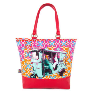 Turquoise Green Taxi Designer Women Tote Bag