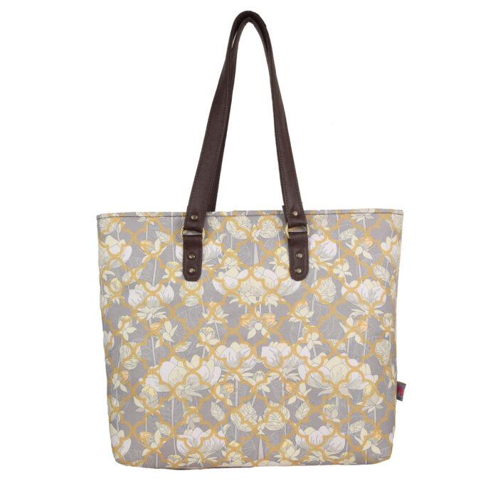 White Lotus Flower Handbag