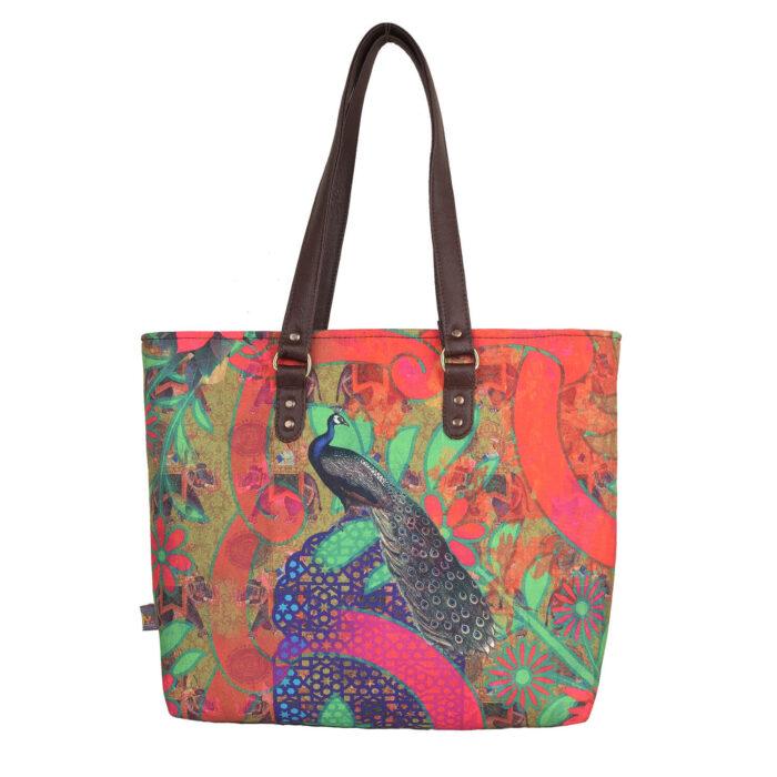 Peacock in Castle Designer Women's Tote Bag