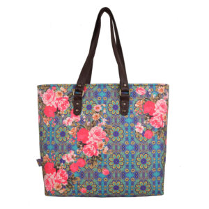 Cool Blue and Pink Flowery Designer Women's Tote Bag