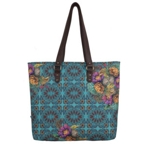 Geometric Design Flowery Women's Tote Bag
