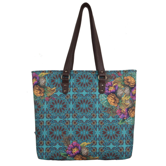 Geometric Design Flowery Women's Tote Bag