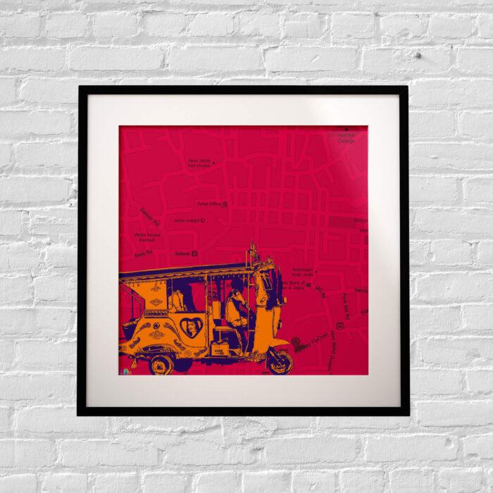 orange taxi art print