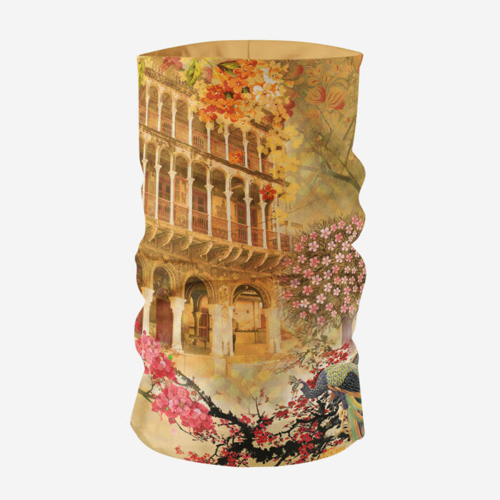 Historical Fort and Floral Printed Unisex Bandana Mask