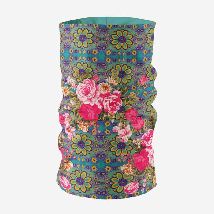 Cool Blue and Pink Flowery Unisex Bandana Mask/Neck Gaiter