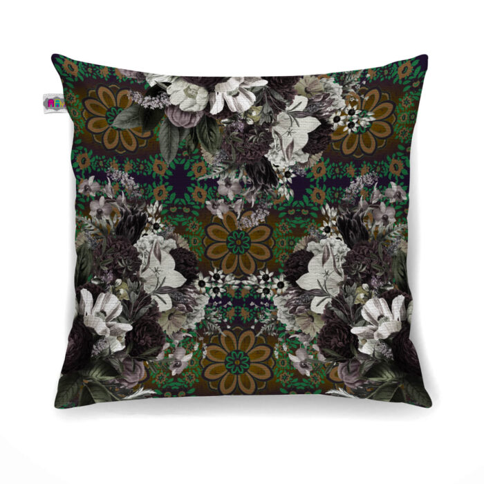 Abstract Flower Canvas Cushion Cover