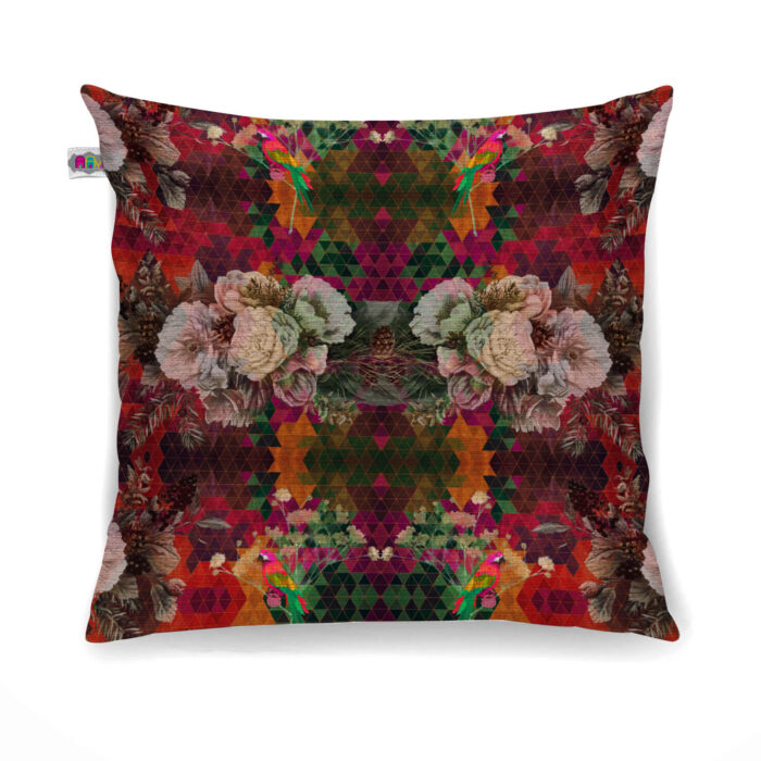 Multicolored Floral Canvas Cushion Cover