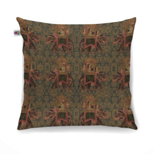 Women Brown Canvas Cushion Cover