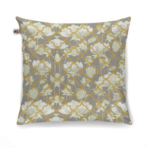 White Lotus Flower Canvas Cushion Cover