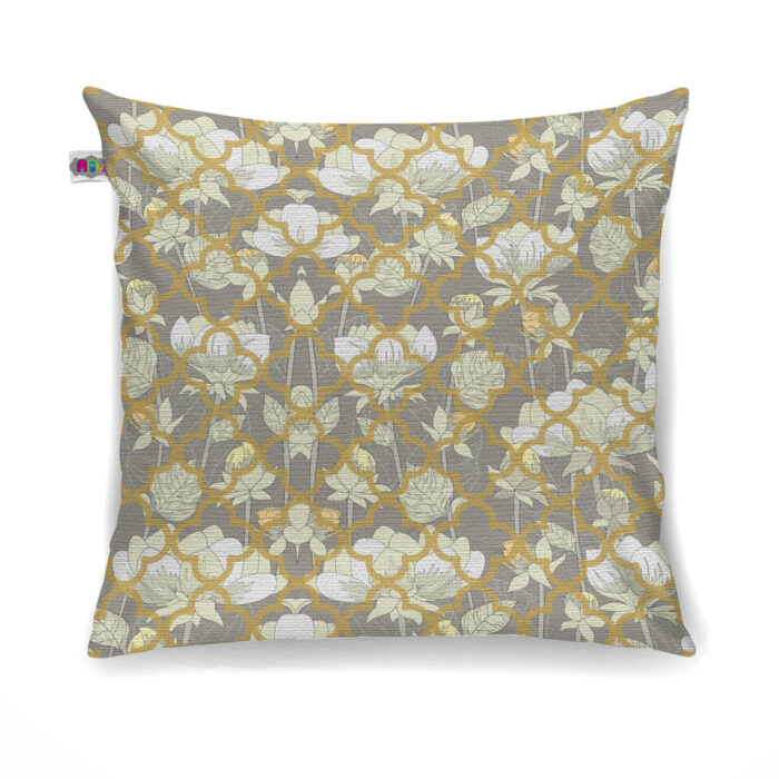 White Lotus Flower Canvas Cushion Cover