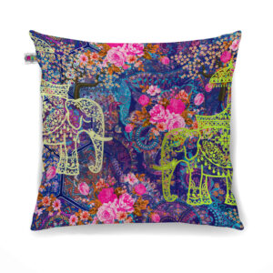 Two Decorated Elephant Designer Canvas Cushion Cover