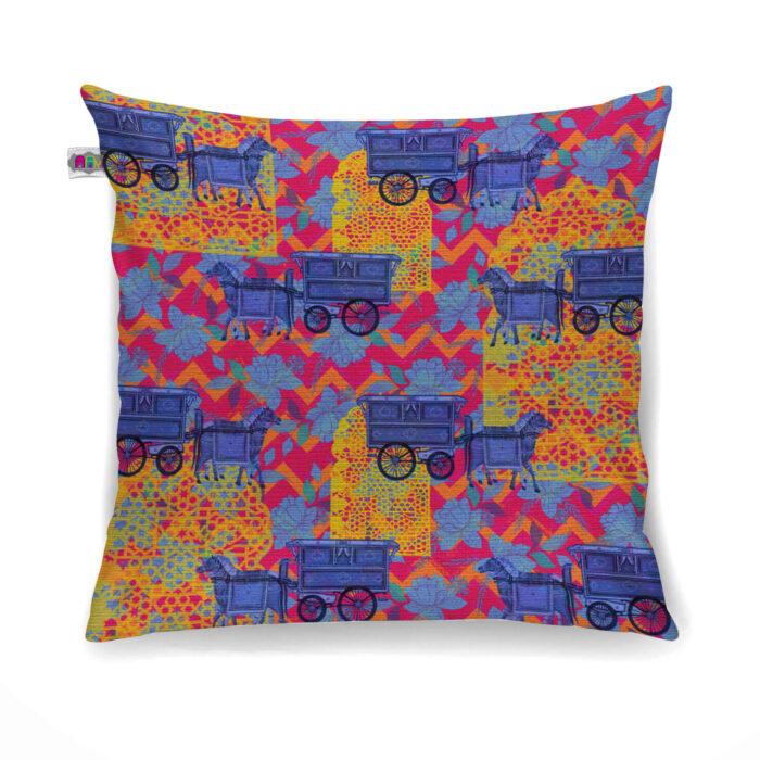 Horse Cart Design Canvas Cushion Cover