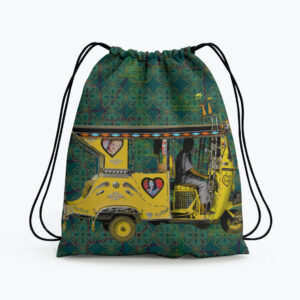 Yellow Auto Rickshaw Drawstring Bag