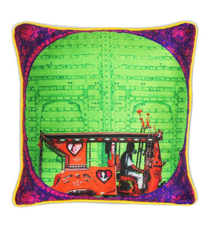 Splash of Green Poli Dupion Cushion Cover