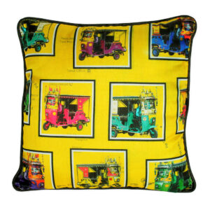 Retro Taxis Poli Dupion Cushion Cover