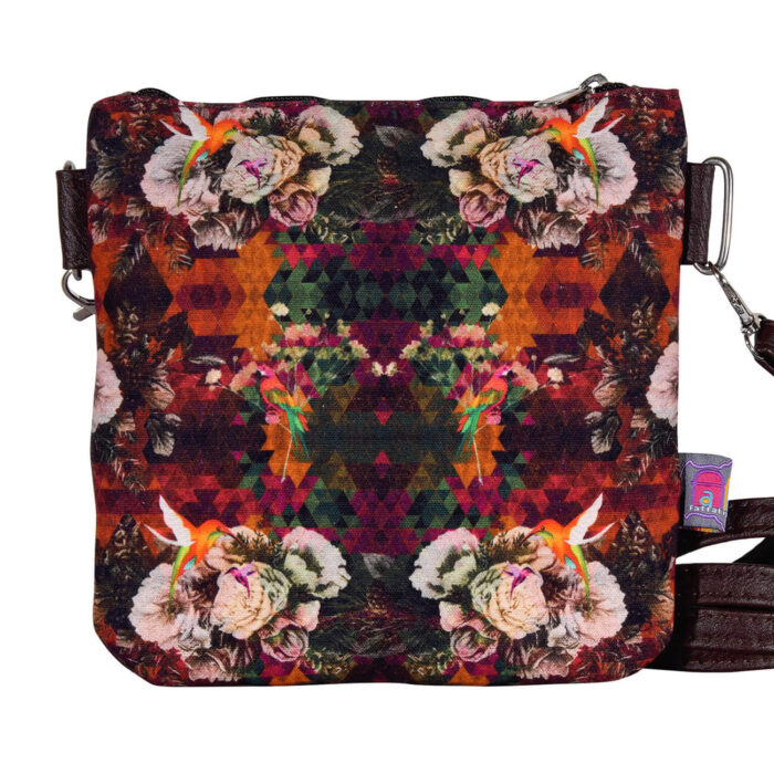 Multicoloured Floral Canvas PU Sling Bag