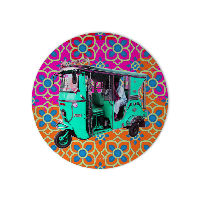 Turquoise Green Rickshaw Mouse Pad
